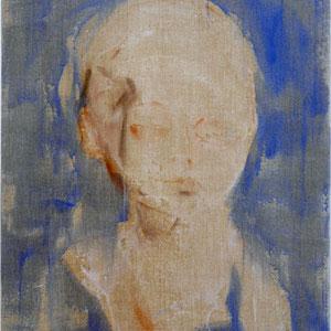 Etude pour un fœtus, 2005, pastel broyé et colle de peau colorée sur toile, 116 x 89 cm, Collection particulière, France.