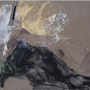 Sans titre, 1993 -1997, colle de peau colorée et huile sur toile, 89 x 16 cm.