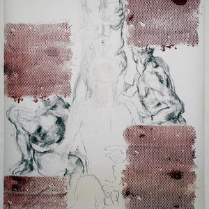 素描,2005,甘油颜料、炭笔及粉笔淡彩,于裱在画布上的纸,150 x 200 cm