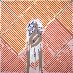 Totem, 1984 - 1985, colle de peau colorée et huile sur toile, 180 x 180 cm.