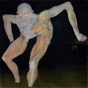 Etude pour un danseur, Variation 4, 2012, (d'après un petit dessin fait pendant un spectacle de danse du TCI, variations 1, 2, 3, réf. catalogue Painting : Alive!), fusain broyé, colle de peau, huile sur toile, 100 x 100 cm.