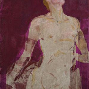男人体习作, 2006-2012 (多折画5号,伤害是一种欲望), 粉笔及彩色皮胶、油画颜料,于画布, 146 x 97 cm