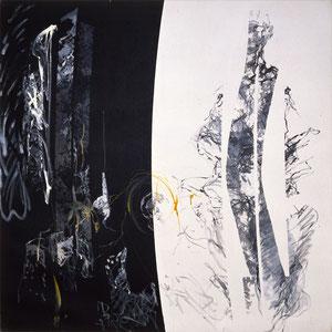 Equivalence, 1989, huile et résine sur toile, 180 x 180 cm, Collection particulière, Japon.