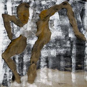 Etude pour un danseur, Variation 2, 2007, fusain broyé, colle de peau colorée, enduit acrylique et huile sur toile, 100 x 100 cm.