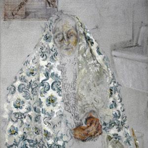 Sainte Anne aux trois concepts, 2003 - 2004, fusain broyé et huile sur toile, 116 x 89 cm.