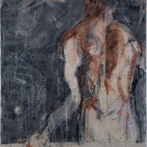 Homme vu de dos, 2005, fusain, pastel de colle de peau colorée dur toile, 116 x 89 cm.
