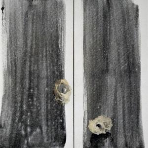 私密的交谈,1999,酪蛋白灰色颜料及油画颜料,于画布,2 x 80 x 40 cm,四川博物院馆藏,成都,中国