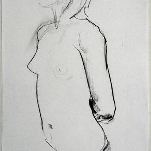 素描,2006,炭笔于素描纸,65 x 50 cm