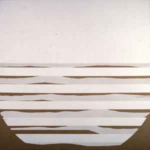 Sans titre, 1984, jeu d'enduit acrylique sur toile, 180 x 180 cm, Collection particulière, France.