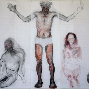Montage 2, dessins préparatoires, détail, 2014, fusain et pastel sur papier Ingres.