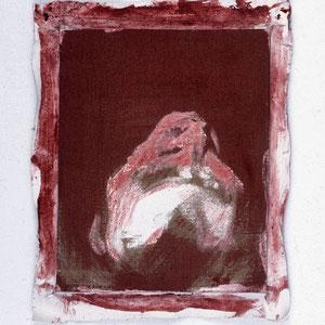 Hommage à Andrea Mantegna (Christ mort, 1506, Milan), 1992, jeu d'enduit et colle de peau sur toile agrafée sur un châssis de 30 x 24 cm et débordant de 2 à 3 cm sur le pourtour, Collection particulière, Paris