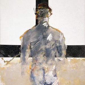 Sans titre, 1986, peinture granitée et émail glycérophtalique sur toile, 195 x 130 cm.