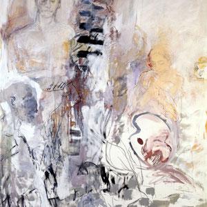 Etude, 1993, technique mixte sur toile, 200 x 160 cm.