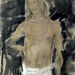 Etude de jeune-homme ou St Sébastien, 2005, fusain, pastel et colle de peau colorée sur toile, 116 x 89 cm.