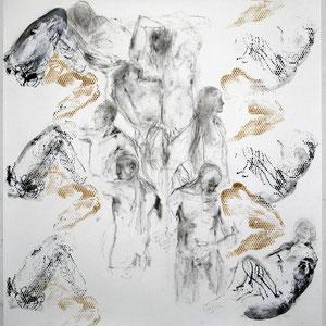 素描,2005,甘油颜料及炭笔,于绘画纸,150 x 170 cm
