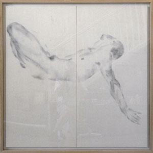 Diptyque, 2008, fusain broyé soufflé sur toile, 2 x 120 x 60 cm.