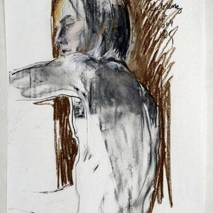 素描,2004,炭笔和粉笔,于素描纸,65 x 50 cm