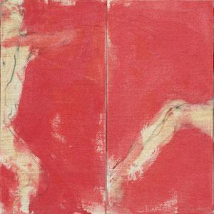 Double diptyque, 2000, fusain, pastel et colle de peau colorée sur toile, 4 x 80 x 40 cm, Collection particulière, Allemagne.