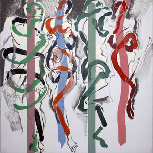 成双,对马蒂斯和毕加索的致意,1984-1989-2001,丙烯颜料及油画颜料,于画布,180 x 180 cm