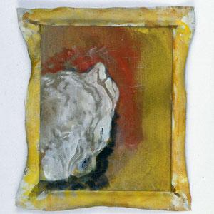 Hommage à Vincent  Van Gogh, 1992, jeu d'enduit et colle de peau sur toile agrafée sur un châssis de 30 x 24 cm et débordant de 2 à 3 cm sur le pourtour, Collection particulière, Paris