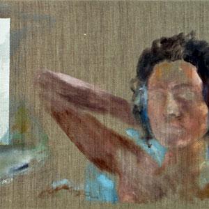 Portrait de femme, 1993, jeu d'enduit et tempera sur toile, 40 x 80 cm.
