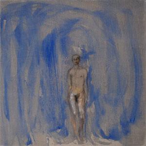 L'hermaphrodite, 2005, mine de plomb, pastel, colle depeau colorée et huile sur toile, 100 x 100 cm.