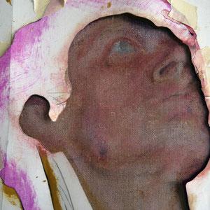 Détail, travail en cours, papier Ingres détourant un visage d'homme, huile sur toile, 2012