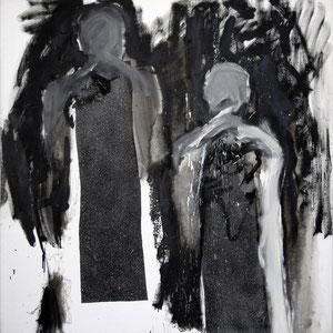 Hommes rectants (d'après un poème de Salah Al Hamdani), 12 mars 1986, peinture granitée et émail sur toile, 180 x 180 cm.