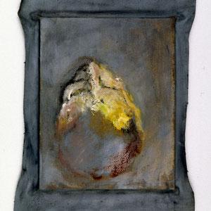 Hommage à Francis Bacon, 1992, jeu d'enduit et colle de peau sur toile agrafée sur un châssis de 30 x 24 cm et débordant de 2 à 3 cm sur le pourtour, Collection particulière, France