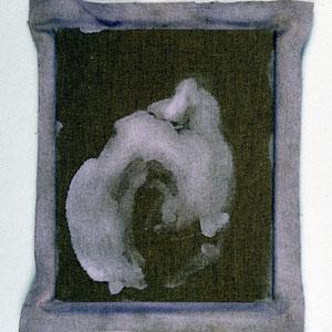 Hommage à Mou-K'i (Plaquemines, fin XIIIème, Chine), 1992, jeu d'enduit et colle de peau sur toile agrafée sur un châssis de 30 x 24 cm et débordant de 2 à 3 cm sur le pourtour, Collection particulière, Paris