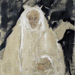 Etude de femme âgée ou Ste Anne, 2005, fusain, pastel et colle de peau colorée sur toile, 116 x 89 cm
