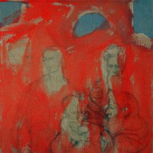 Etude, Hommage à Parmesan (Le Mariage mystique de Ste Catherine), 2005, fusain et colle de peau colorée sur toile, 116 x 89 cm.