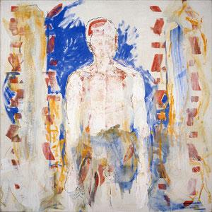 Le buste blanc, 1988-1989-1990, émail glycérophtalique, plâtre et enduit sur toile, 180 x 180 cm.