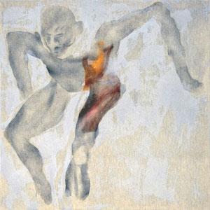 Etude pour un danseur, Variation 3, 2007, Variation 3, fusain et pastel broyés, colle de peau colorée sur toile, 100 x 100 cm.