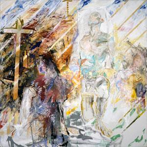 A leurs corps défendant, la valse, 1988-89-90-91, fusain, acrylique, émail glycérophtalique et huile sur toile, 180 x 180 cm, Collection particulière, Belgique.