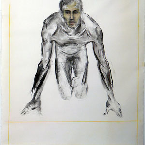 Drawing, 2008 - 2012, charcoal and pastel on paper strengthened on fabric, 150 X 130 cm.