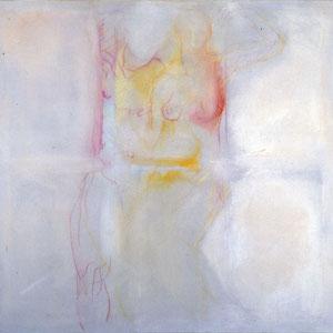 Couple, 1984, enduit colorée à la caséine et crayon de couleur sur toile délavée, 180 x 180 cm, Collection particulière, Cap Vert.