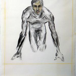 Dessin, 2008 - 2012, fusain et pastel sur papier marouflé sur toile, 150 x 130 cm.