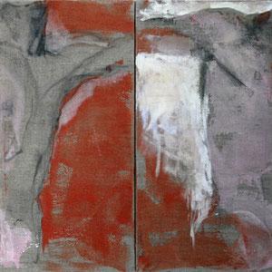 Diptyque, 2002 - 2004, fusain, colle de peau colorée et huile sur toile, 2 x 80 x 40 cm.
