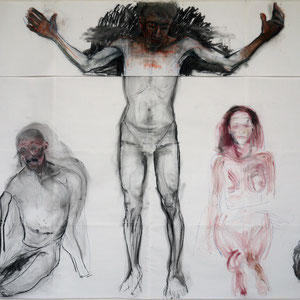 Montage 1, dessins préparatoires, détail, 2014, fusain et pastel sur papier Ingres.