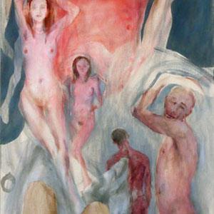 Etude libre pour Polyptique VI (partie centrale), 2014 – 2017, pastel et huile sur toile, 287 x 77 cm