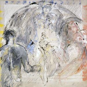 Une lente transfiguration, 1983-1988- 1989, fusain, émail glycérophtalique et huile sur toile, 180 x 180 cm, Collection particulière, France.