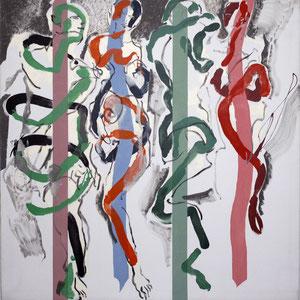 Couples, Double hommage à Matisse et Picasso, 1984-1989-2001, acrylique et huile sur toile, 180 x 180 cm.