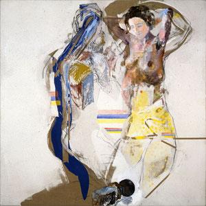 Leurs têtes se sont lourdement chargées de rêves, 1983-1991, peinture granitée, émail glycérophtalique et huile sur toile, 180 x 180 cm, Collection FRAC Ile de France.