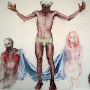 Titre indéterminé, 2015 – 2016, pastel  et huile sur toile, 200 x 250 cm