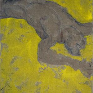 Etude d'après Adis Hodzic, 2005, fusain et colle de peau colorée sur toile, 116 x 89 cm.