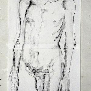 素描,两页纸的组合,2006,炭笔于素描纸,130 x 50 cm