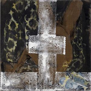 Sans titre, 2007, fusain, colle de peau colorée, émail glycérophtalique et huile sur toile, 100 x 100 cm.
