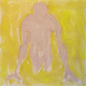 Sans titre, 2006, pastel et colle de peau colorée sur toile, 120 x 120 cm, Collection particulière, France.
