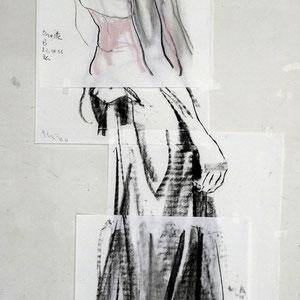 素描,四页纸的短暂组合,2006,炭笔和粉笔,于素描纸,170 x 70 cm